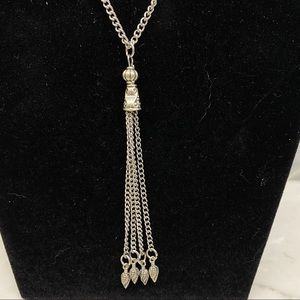 Sassy tassel long Silver Tone Chain figural points